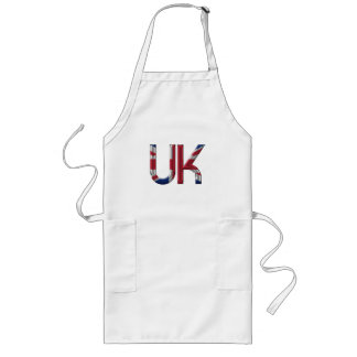 The UK Union Jack British Flag Typography Elegant Long Apron