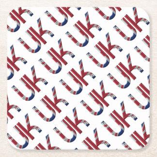 The UK Union Jack British Flag Typography Elegant Square Paper Coaster