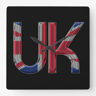 The UK Union Jack British Flag Typography Elegant Square Wall Clock
