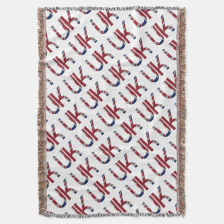 The UK Union Jack British Flag Typography Elegant Throw Blanket