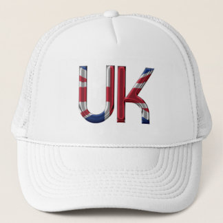 The UK Union Jack British Flag Typography Elegant Trucker Hat