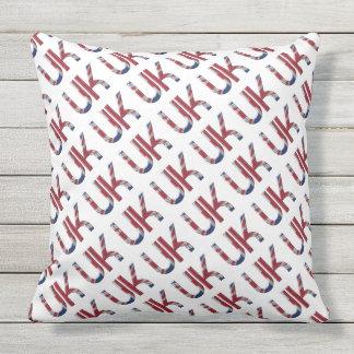 The UK Union Jack British Flag Typography Pattern Outdoor Cushion