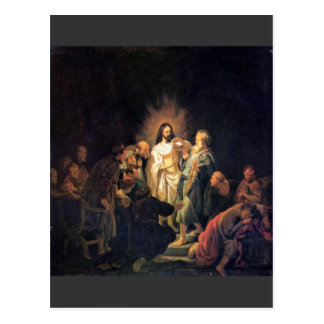 The unbelieving Thomas by Rembrandt Postcard