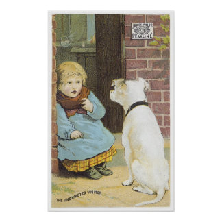 The Unexpected Visitor - Pearline Boy With Dog Poster