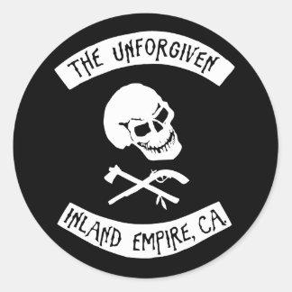 The Unforgiven Skull Round Sticker