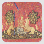 The Unicorn and Maiden Mediaeval Tapestry Image Square Stickers