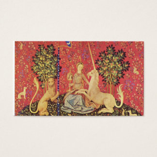 The Unicorn and Maiden Medieval Tapestry Image Business Card