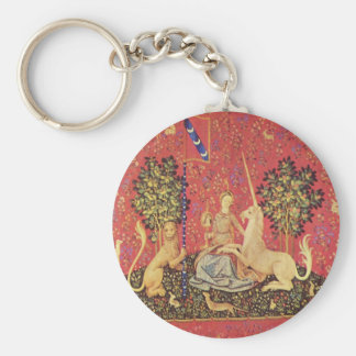 The Unicorn and Maiden Medieval Tapestry Image Key Ring
