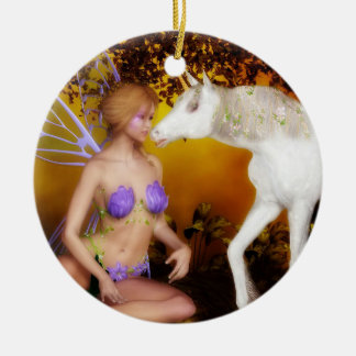 The Unicorn and the Fairy Ceramic Ornament