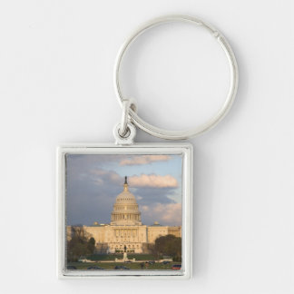 The United States Capitol Building in Silver-Colored Square Key Ring