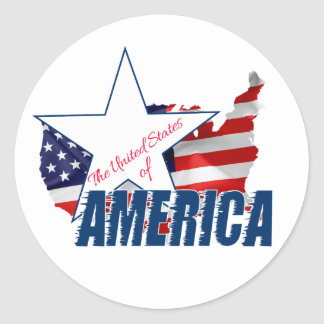 The United States Of America 4th of July Classic Round Sticker