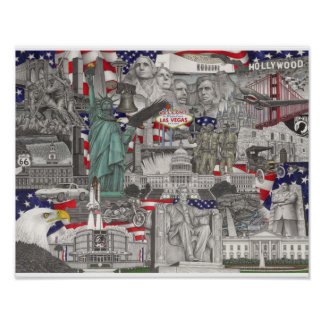 The United States of America Pencil Drawing Poster