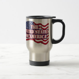 The United States of America with flag distressed Stainless Steel Travel Mug