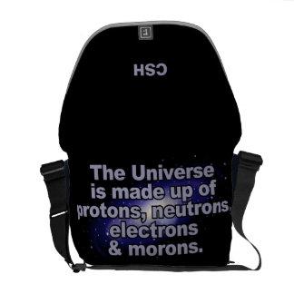 """The Universe"" custom monogram messenger bags"