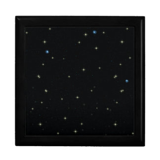 The Universe with Gold and Blue Stars Large Square Gift Box