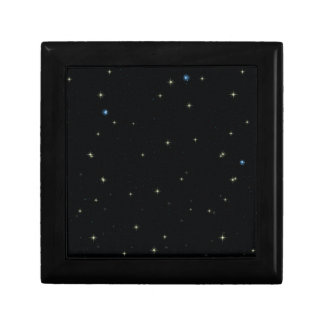 The Universe with Gold and Blue Stars Small Square Gift Box