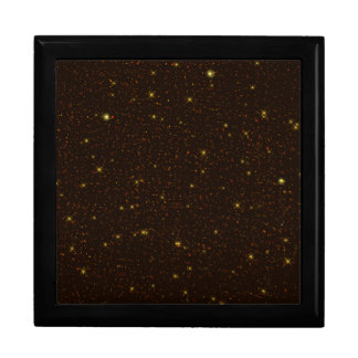 The Universe with Gold and Brown Stars Large Square Gift Box