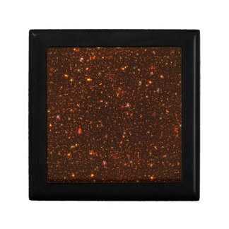 The Universe with Gold and Red Stars Small Square Gift Box