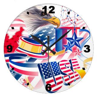 The USA Flag Large Clock