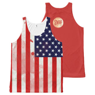 The USA Flag Unisex Grunge Series All-Over Print Singlet