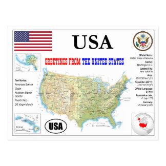 The USA map Postcard