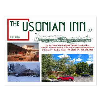 The Usonian Inn LLC postcard - then and now