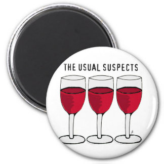 THE USUAL SUSPECTS WINE TRIO PRINT 6 CM ROUND MAGNET