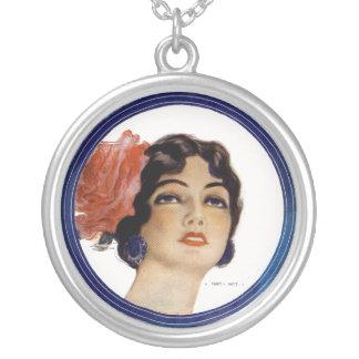 The VAMP Beautiful Lady Vintage Illustration Round Pendant Necklace
