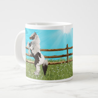 The Vanner Horse On a Heavenly Field of Daisies Large Coffee Mug