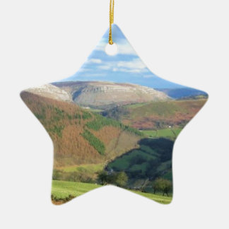 The View from Mt Snowden, Wales Ceramic Star Decoration