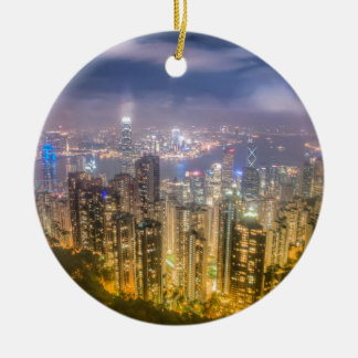 The view of Hong Kong from The Peak Ceramic Ornament