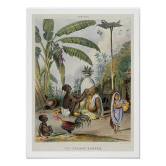 The Village Barber, plate 6 from 'Indians', engrav Poster