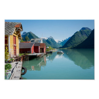 The village of Fjærland, fjord in Norway poster