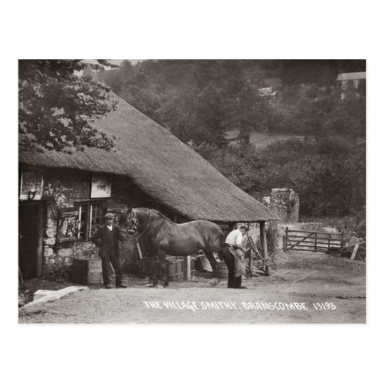 The village smithy sepia postcard