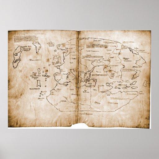 The Vinland Map 15th Century Mappa Mundi Poster