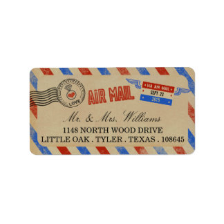 The Vintage Airmail Wedding Collection Address Label