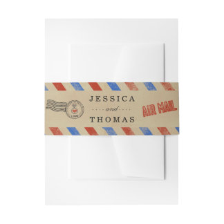 The Vintage Airmail Wedding Collection Invitation Belly Band