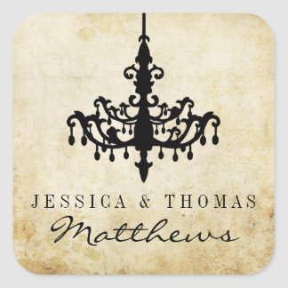 The Vintage Chandelier Wedding Collection Square Sticker