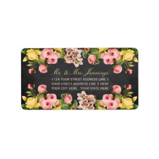 The Vintage Floral Chalkboard Wedding Collection Label