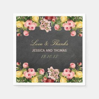 The Vintage Floral Chalkboard Wedding Collection Paper Napkin
