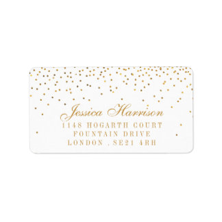The Vintage Glam Gold Confetti Wedding Collection Address Label