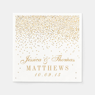 The Vintage Glam Gold Confetti Wedding Collection Disposable Napkins