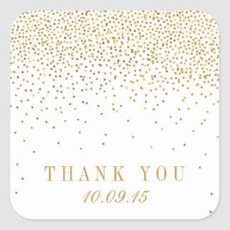 The Vintage Glam Gold Confetti Wedding Collection Square Sticker