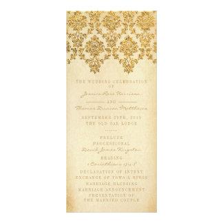 The Vintage Glam Gold Damask Wedding Collection 10 Cm X 23 Cm Rack Card