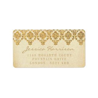 The Vintage Glam Gold Damask Wedding Collection Address Label