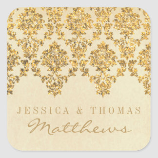 The Vintage Glam Gold Damask Wedding Collection Square Sticker