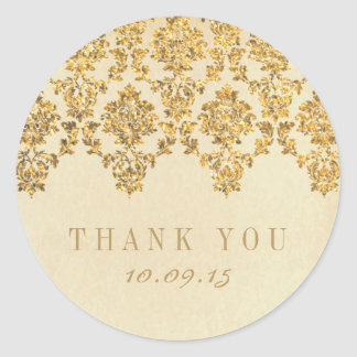 The Vintage Glam Gold Damask Wedding Collection Round Sticker