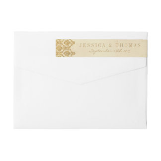 The Vintage Glam Gold Damask Wedding Collection Wraparound Return Address Label