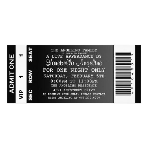 The VIP Ticket Birthday Invitation (Black)