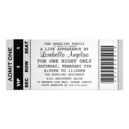The VIP Ticket Birthday Invitation (White)